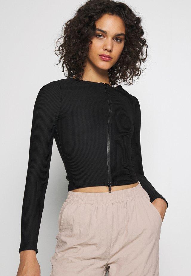 RIBBED ZIP THROUGH - Maglietta a manica lunga - black
