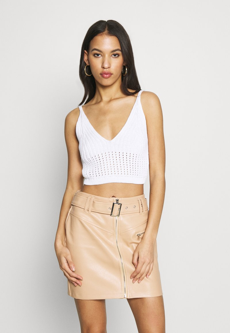 Missguided - V NECK CROP  - Topper - white