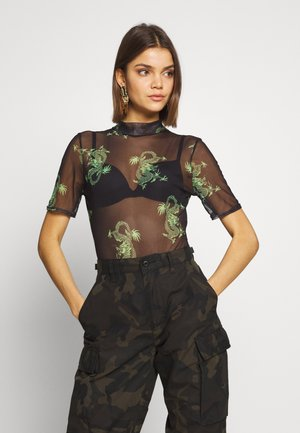 DRAGON PRINT HIGH NECK - Triko s potiskem - black