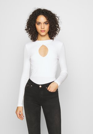 KEYHOLE FRONT - Long sleeved top - white