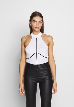 PIPING DETAIL HIGH NECK BODYSUIT - Débardeur - white