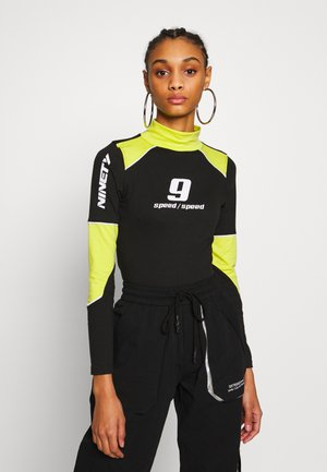 MOTORCROSS CONTRAST PIPING HIGH NECK - Langarmshirt - black/lime
