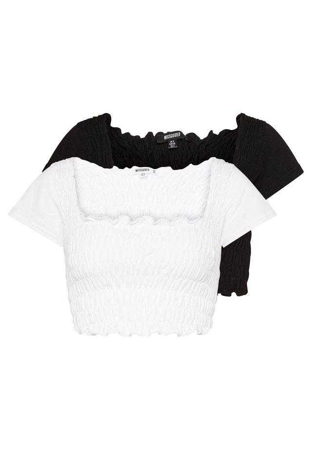 SHIRRED CROP 2 PACK - T-shirts - white/black