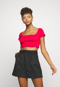 Missguided - SHIRRED CROP 2 PACK - T-Shirt basic - red/black - 4