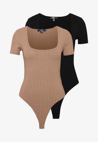 Missguided - T-shirt basique - camel/black/white - 4