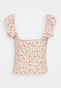 Missguided - RUFFLE STRAP UP FRONT FOLK CAMI - Blouse - cream - 1