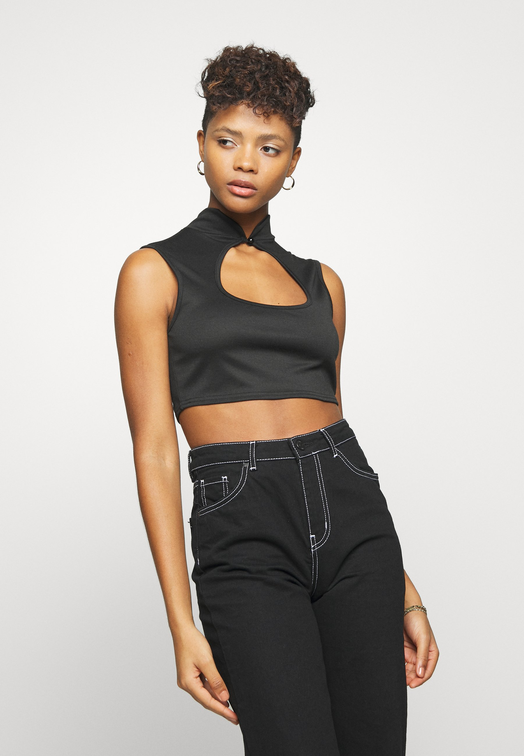 Missguided HIGH NECK KEYHOLE FRONT CROP 2 PACK - Topper - white/black