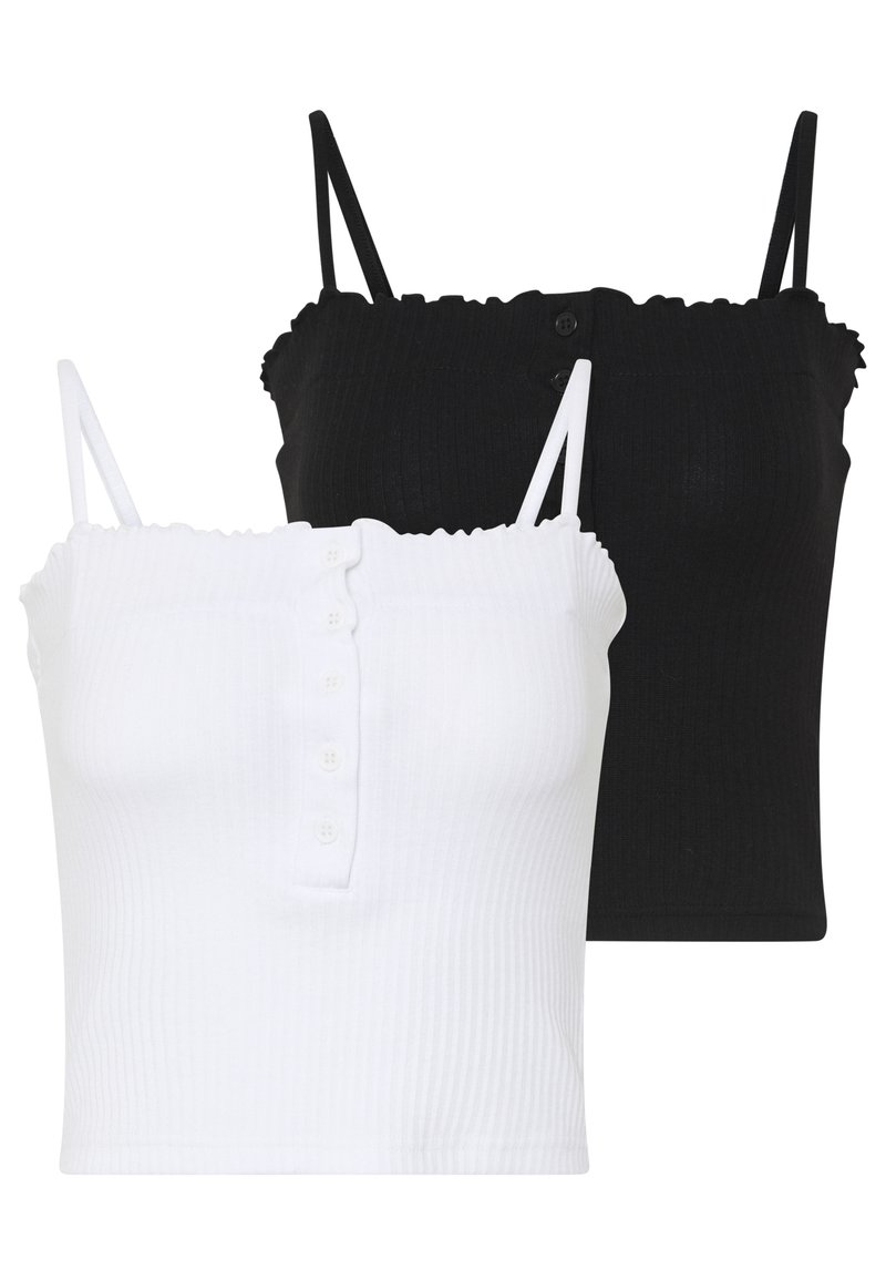 Missguided - LETTUCE EDGE CROP 2 PACK - Top - white/black