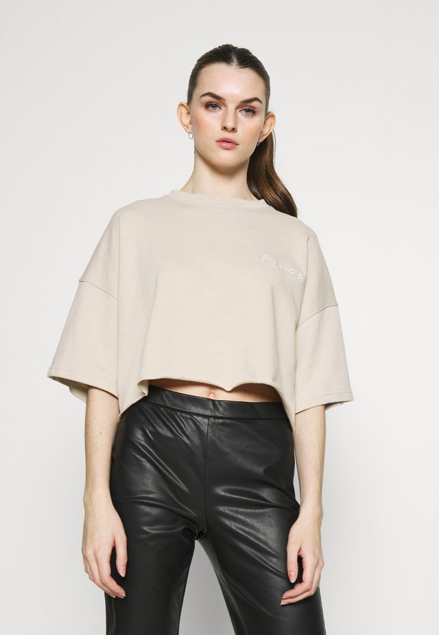 CROPPED SIGNATURE TOP  - T-shirt basic - nude