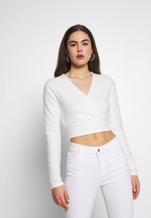 BRUSHED LONG SLEEVE WRAP - Long sleeved top - cream