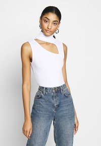 Missguided - SLEEVELESS CUT OUT BODYSUIT - Top - white - 0