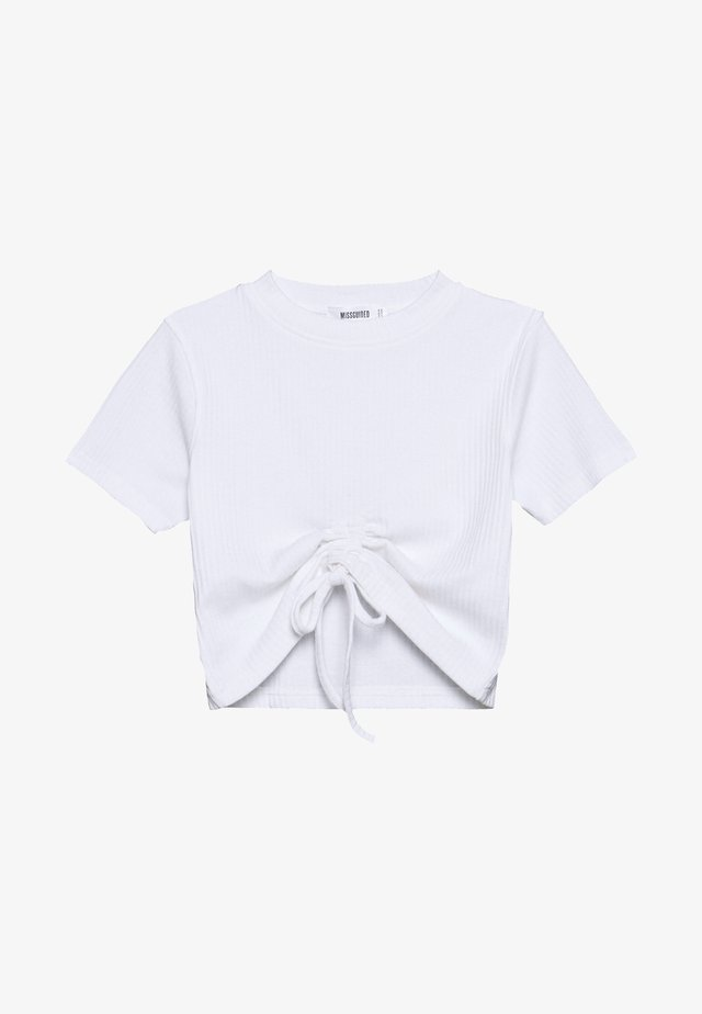 RUCHED SEAM SHORT SLEEVE CROP TOP - T-shirt con stampa - white