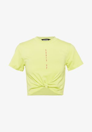 SURFS UP CROP KNOT FRONT TEE - Print T-shirt - lime