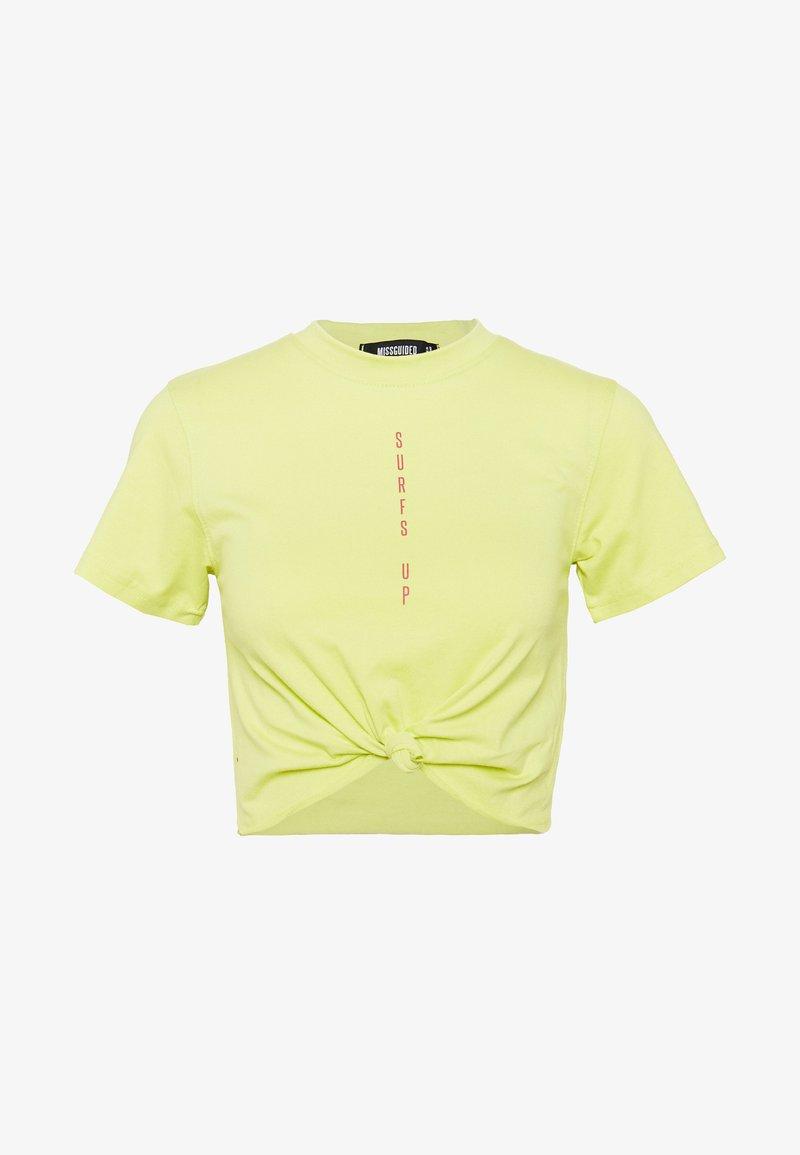 Missguided - SURFS UP CROP KNOT FRONT TEE - T-shirt imprimé - lime