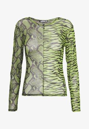MIXED LONG SLEEVED CROP TOP - Top sdlouhým rukávem - neon green