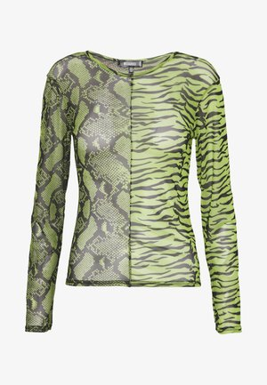 MIXED LONG SLEEVED CROP TOP - Topper langermet - neon green