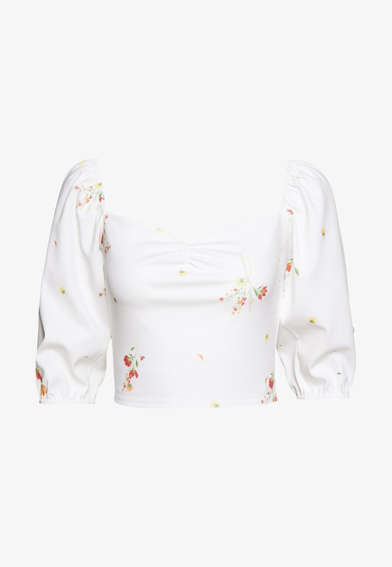 Missguided - DITSY FLORAL MILKMAID CROP - T-shirts med print - white
