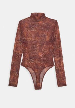 CROC PRINT HIGH NECK BODYSUIT - Top sdlouhým rukávem - terracotta