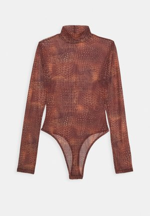 CROC PRINT HIGH NECK BODYSUIT - Débardeur - terracotta