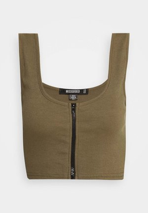 CONTRAST ZIP CROP - Top - khaki