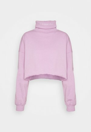MISSGUIDED EMBROIDERED NECK - Sweatshirt - lilac