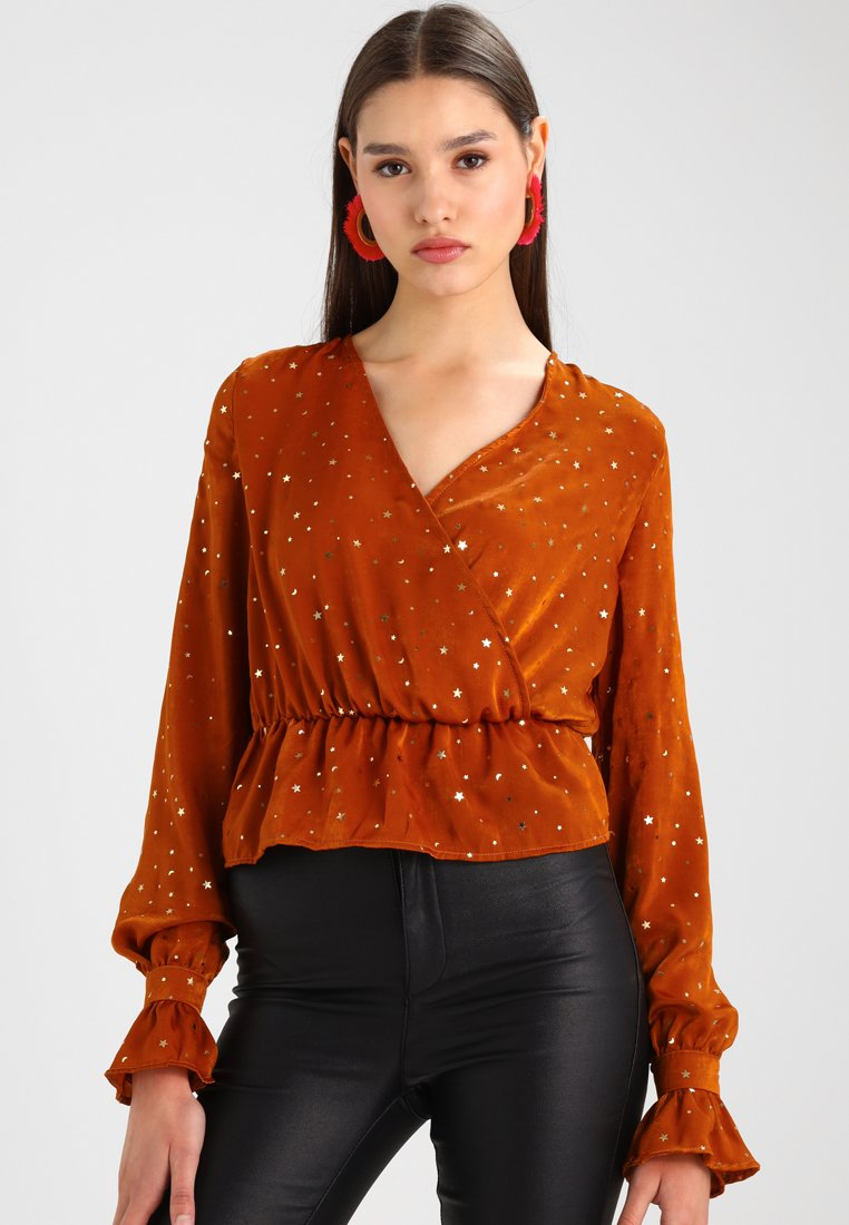 Missguided - STAR DETAIL LONG SLEEVE  - Blouse - tan