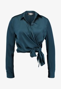 Missguided - WRAP FRONT SIDE TIE - Blouse - teal - 4