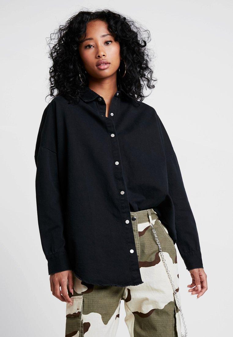 Missguided - OVERSIZED WASHED - Overhemdblouse - black