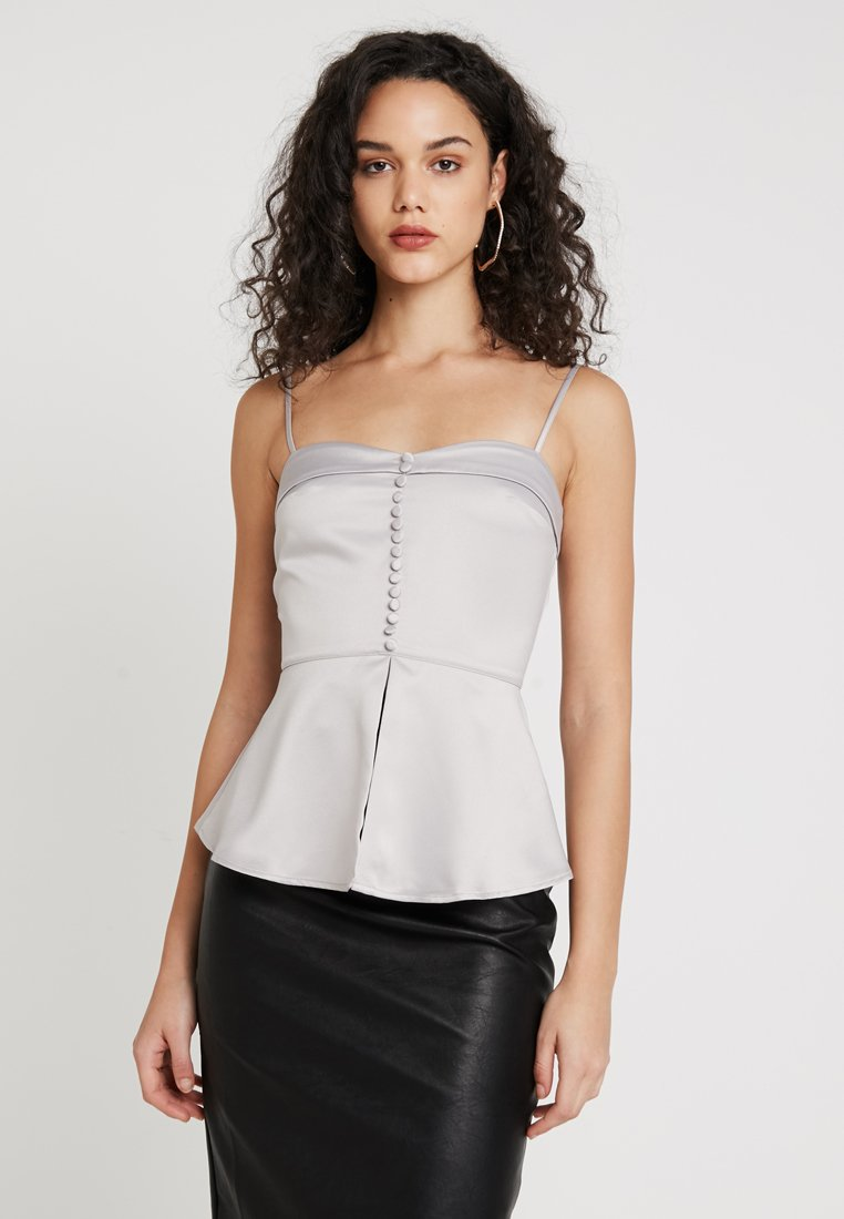Missguided - BUTTON DETAIL CAMI PEPLUM - Top - silver