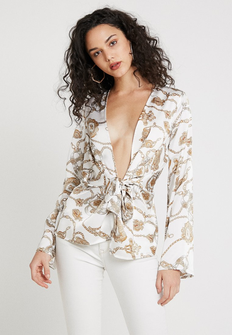 Missguided - CHAIN PRINT TWIST FRONT - Blouse - white