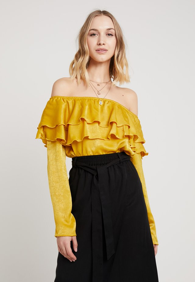HAMMERED FRILL LAYERED BARDOT BODYSUIT - Blouse - mustard