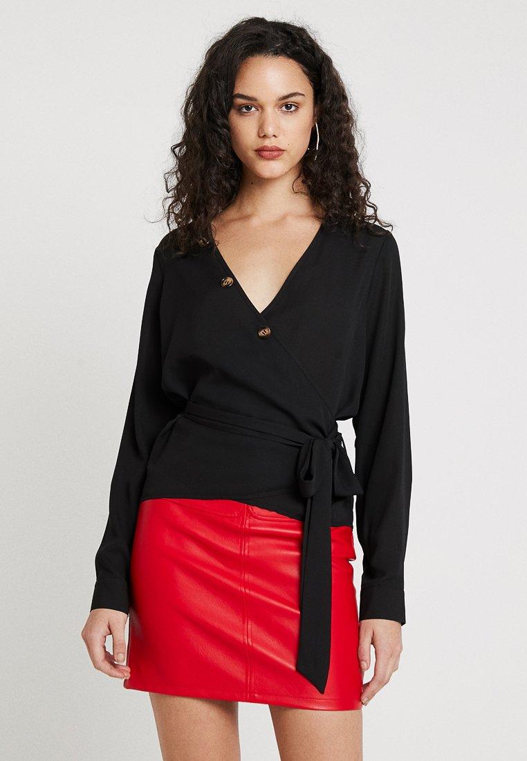 Missguided - BUTTON WRAP BLOUSE - Bluse - black