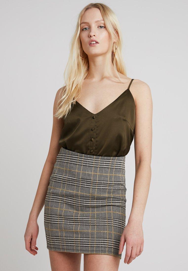 Missguided - BUTTON FRONT STRAPPY CAMI - Top - khaki