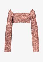 FLORAL PLISSE SQUARE NECK - Maglietta a manica lunga - rust