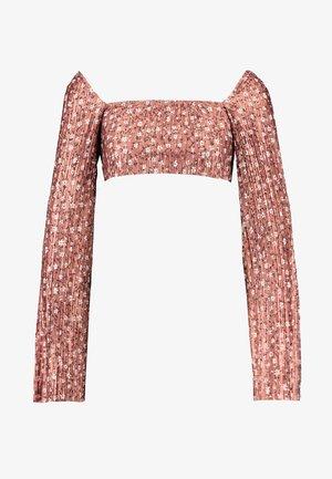 FLORAL PLISSE SQUARE NECK - Långärmad tröja - rust