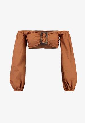 BUCKLE DETAIL BARDOT TOP - Blouse - brown