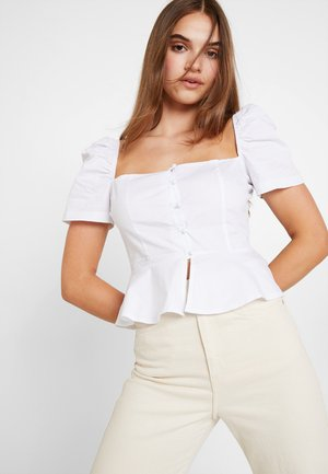 SHORT SLEEVE SQUARE NECK BUTTON DOWN PEPLUM - Blouse - white