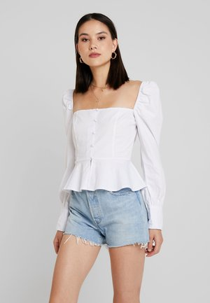 PUFF SLEEVE BUTTON DOWN BLOUSE - Blus - white