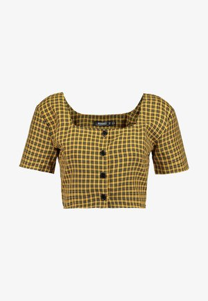 CHECK SQUARE NECK CROP - Blus - yellow