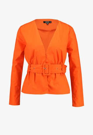 BELTED PLUNGE BLOUSE - Blouse - flame
