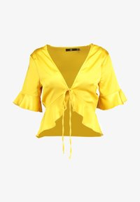 Missguided - SHORT SLEEVE EASY TIE FRONT CROP - Blusa - yellow - 4