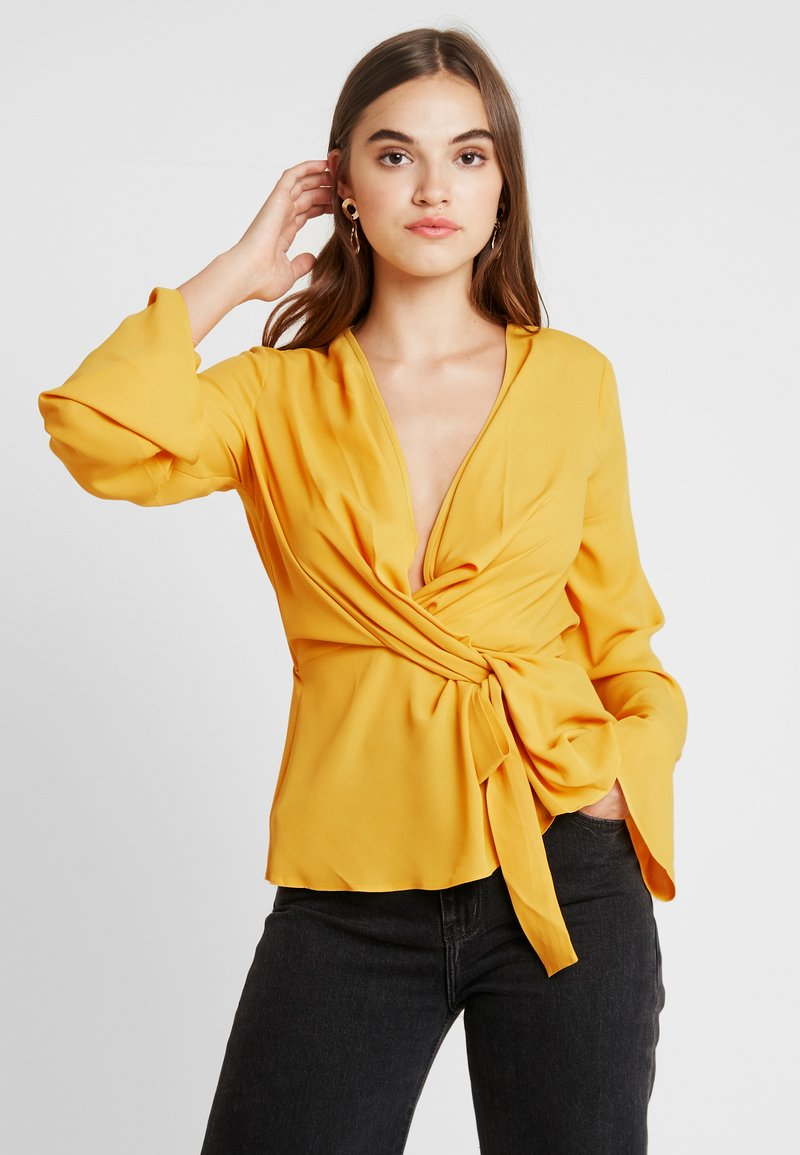 Missguided - WRAP BLOUSE - Pusero - mustard