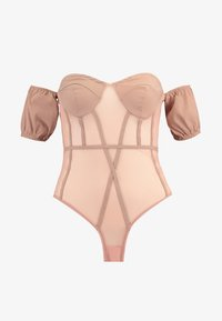 Missguided - BARDOT PUFF SLEEVE CUPPED BODYSUIT - Blouse - nude - 3