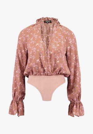 PURPOSEFUL FLORAL PLUNGE FRILL SLEEVES BODYSUIT - Camicetta - blush