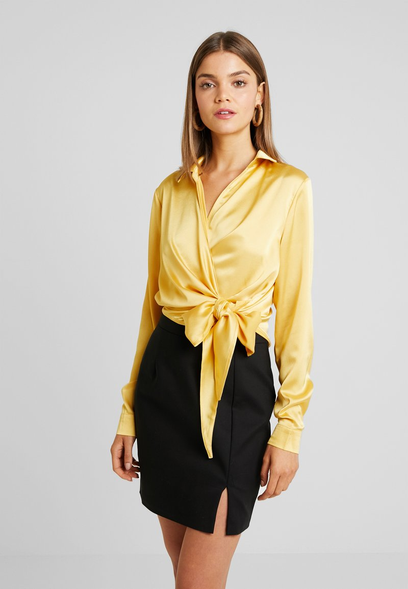 Missguided - WRAP FRONT SIDE TIE - Blouse - gold