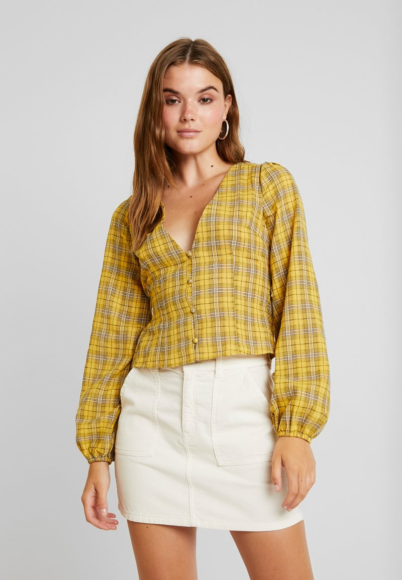 Missguided - CHECK BUTTON FRONT TIE WAIST - Bluser - yellow