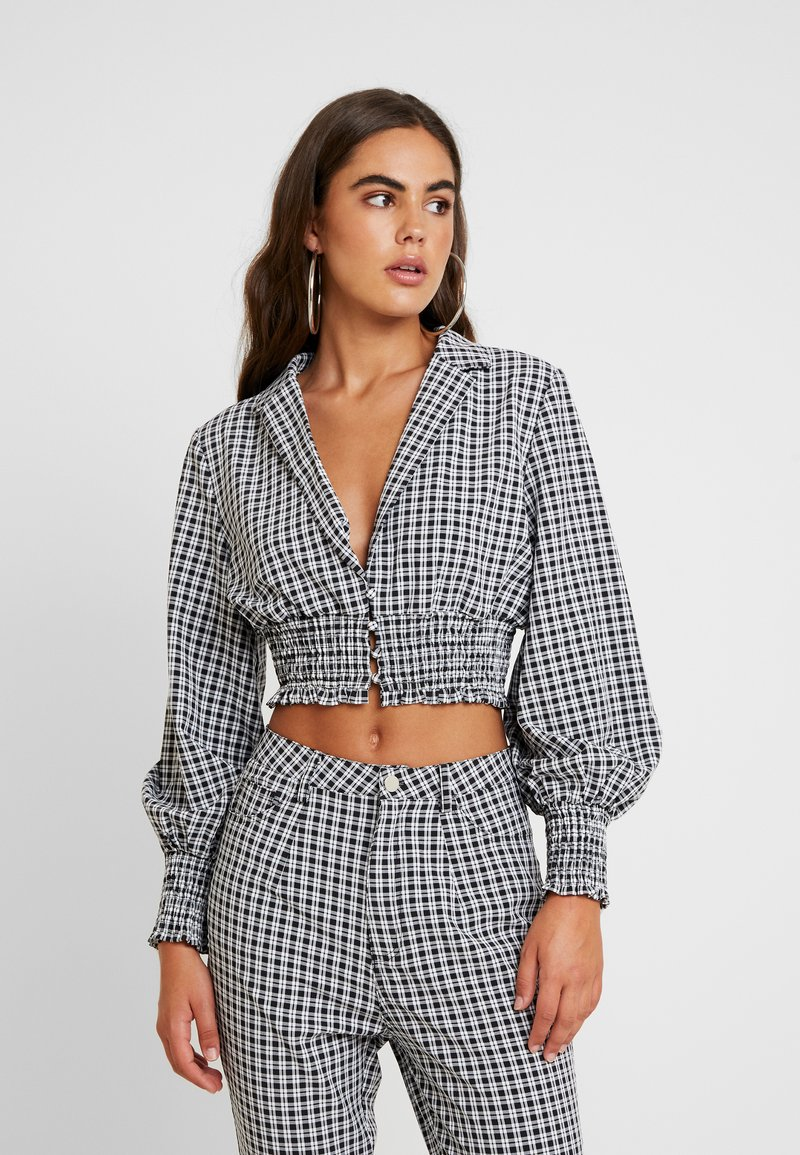 Missguided - CHECK COLLARED SHIRRED - Blusa - black