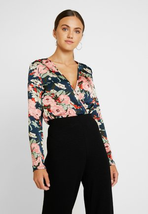 FLORAL PLUNGE LONG SLEEVED BODYSUIT - Bluser - navy