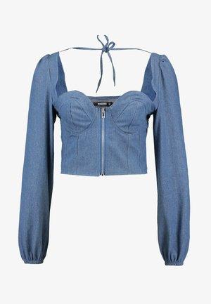 SQUARE NECK ZIP CROP - Bluser - blue