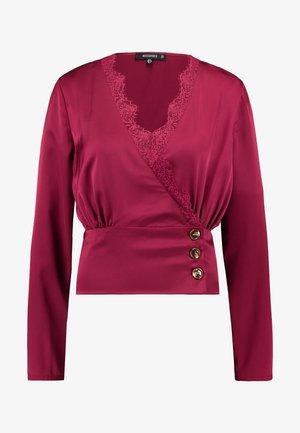 WRAP BUTTON - Bluse - burgundy